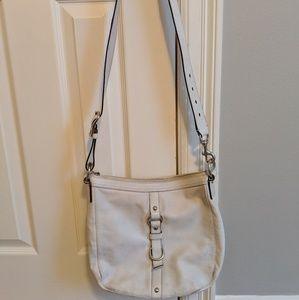 Coach white leather crossbody bag